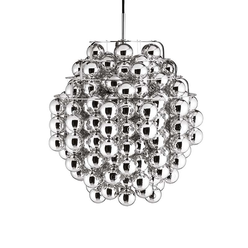 Verpan Ball Silver Pendant Light by Verner Panton Olson and Baker - Designer & Contemporary Sofas, Furniture - Olson and Baker showcases original designs from authentic, designer brands. Buy contemporary furniture, lighting, storage, sofas & chairs at Olson + Baker.