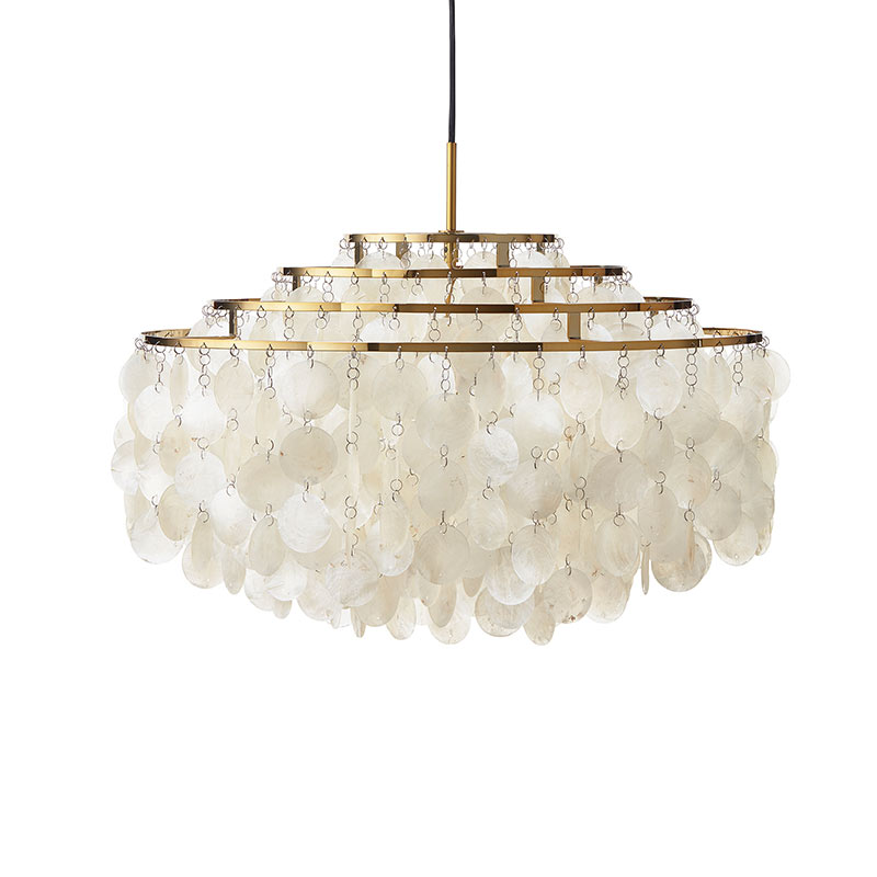 Verpan Fun 10DM Pendant Light in Brass by Verner Panton Olson and Baker - Designer & Contemporary Sofas, Furniture - Olson and Baker showcases original designs from authentic, designer brands. Buy contemporary furniture, lighting, storage, sofas & chairs at Olson + Baker.