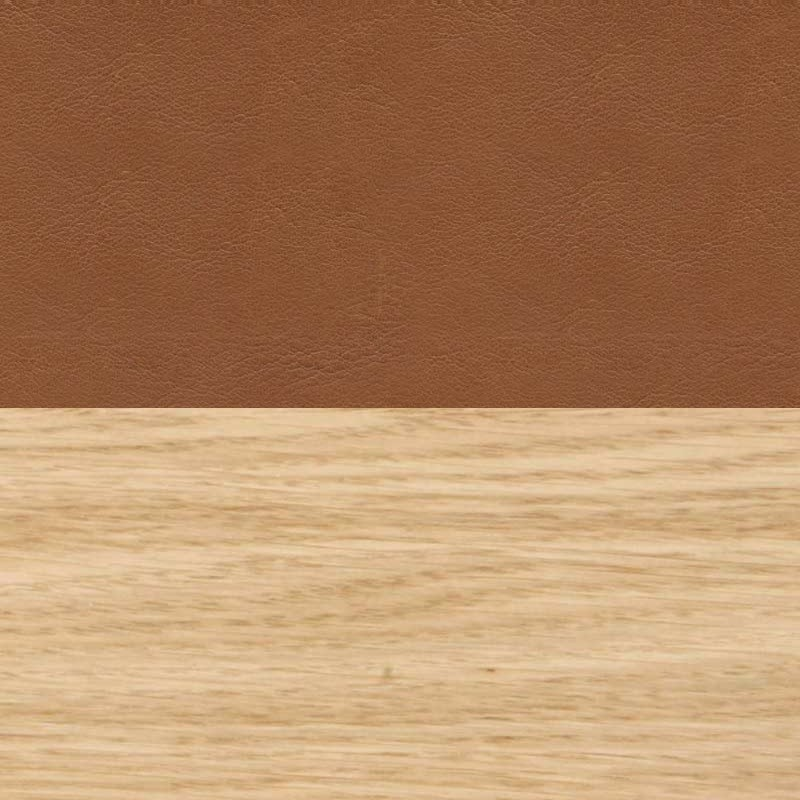 DHS - Oak and cognac leather (100% Cow hide) swatch for Olson and Baker