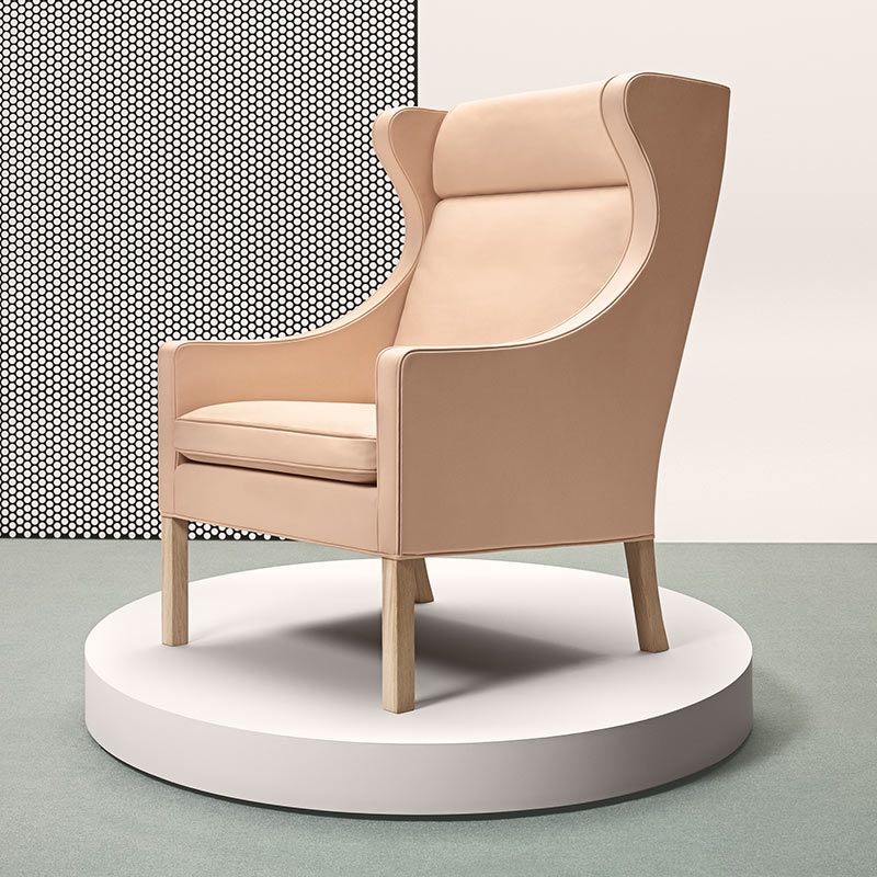 Fredericia Select 2204 Wing Chair in 90 Natural aniline leather by Borge Mogensen (2) Olson and Baker - Designer & Contemporary Sofas, Furniture - Olson and Baker showcases original designs from authentic, designer brands. Buy contemporary furniture, lighting, storage, sofas & chairs at Olson + Baker.