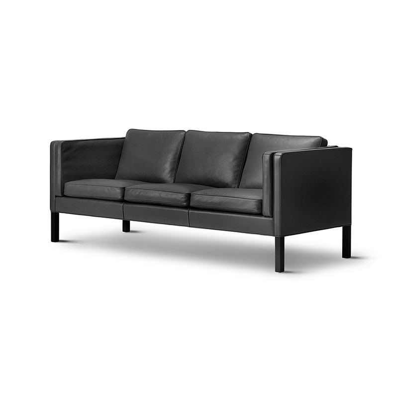 Fredericia Select 2333 Three Seat Sofa in 88 Black semi aniline leather by Borge Mogensen (2) Olson and Baker - Designer & Contemporary Sofas, Furniture - Olson and Baker showcases original designs from authentic, designer brands. Buy contemporary furniture, lighting, storage, sofas & chairs at Olson + Baker.