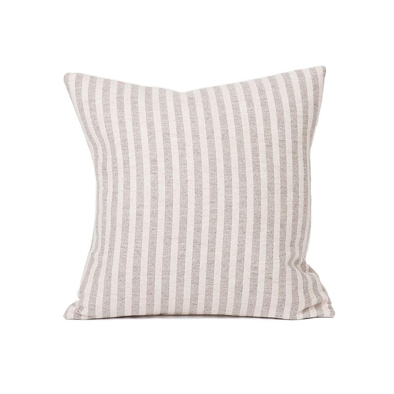 Tori Murphy Harbour Stripe Cushion Mushroom & Ecru by Tori Murphy Olson and Baker - Designer & Contemporary Sofas, Furniture - Olson and Baker showcases original designs from authentic, designer brands. Buy contemporary furniture, lighting, storage, sofas & chairs at Olson + Baker.