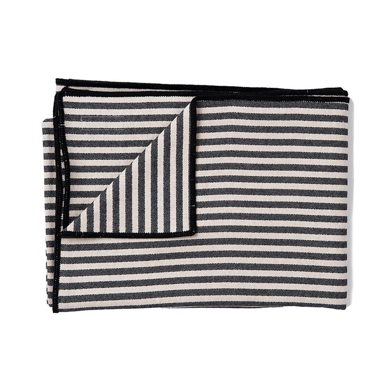 Tori Murphy Harbour Stripe Throw Graphite & Ecru by Tori Murphy Olson and Baker - Designer & Contemporary Sofas, Furniture - Olson and Baker showcases original designs from authentic, designer brands. Buy contemporary furniture, lighting, storage, sofas & chairs at Olson + Baker.