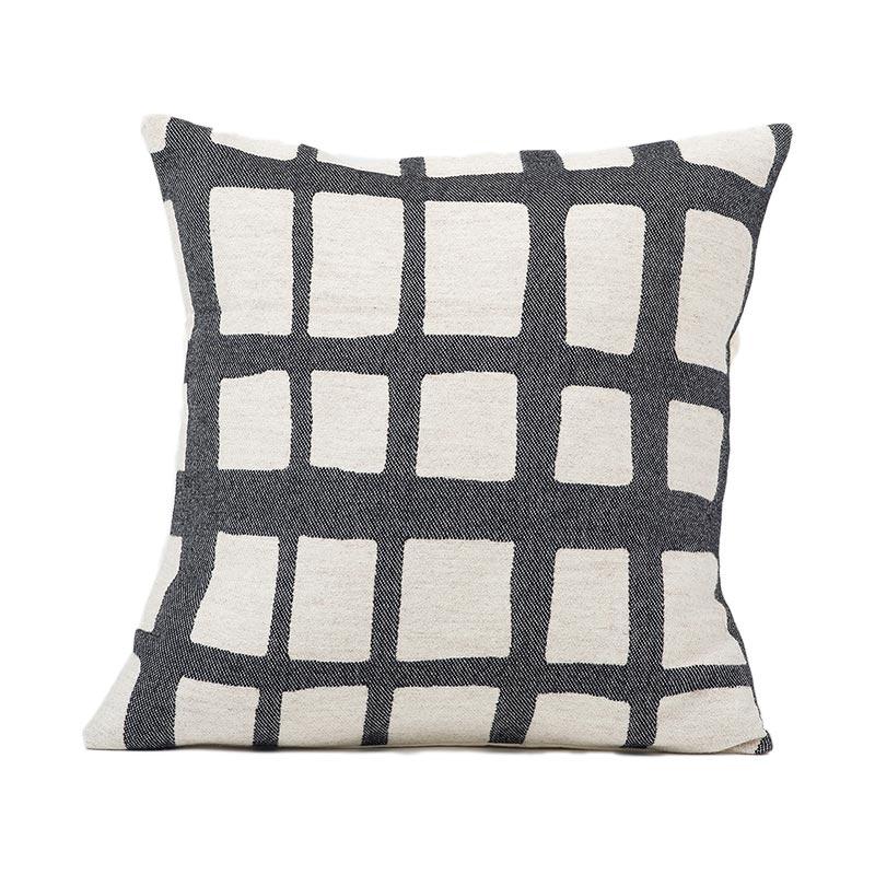 Tori Murphy Kensal Check Cushion Black on Linen by Tori Murphy