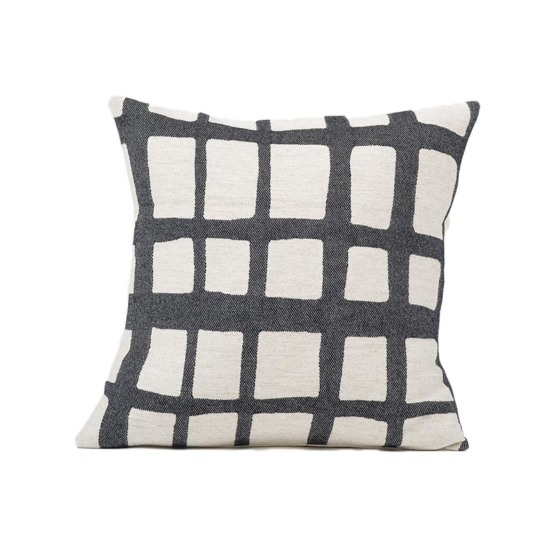 Tori Murphy Kensal Check Cushion Black on Linen by Tori Murphy Olson and Baker - Designer & Contemporary Sofas, Furniture - Olson and Baker showcases original designs from authentic, designer brands. Buy contemporary furniture, lighting, storage, sofas & chairs at Olson + Baker.