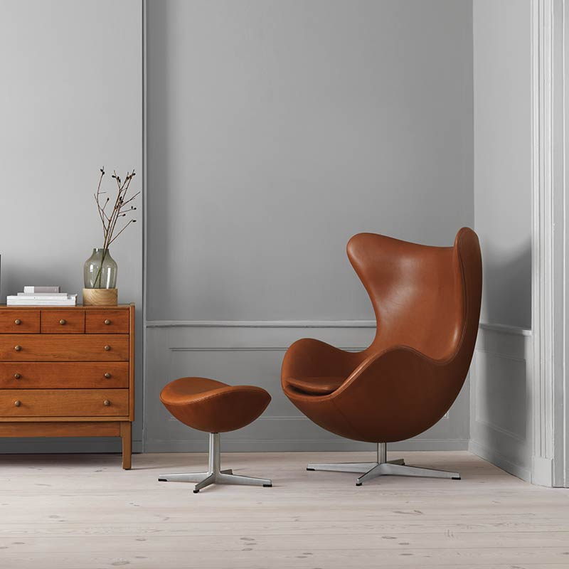 Fritz-Hansen-Egg-Chair-Foot-Stool-by-Arne-Jacobsen-2 Olson and Baker - Designer & Contemporary Sofas, Furniture - Olson and Baker showcases original designs from authentic, designer brands. Buy contemporary furniture, lighting, storage, sofas & chairs at Olson + Baker.