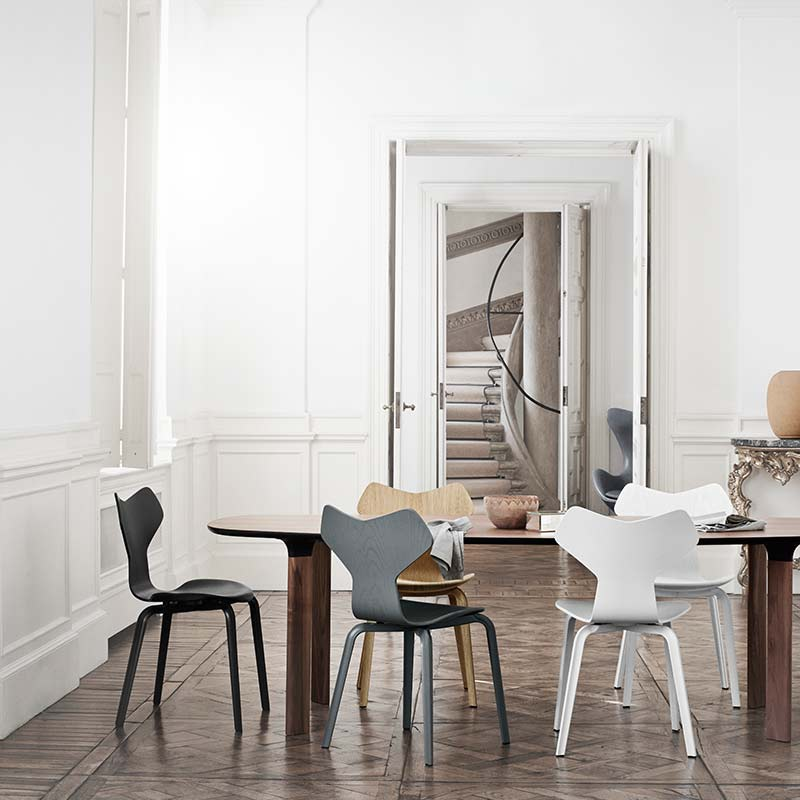 Fritz-Hansen-Grand-Prix-Chair-with-Wood-Legs-by-Arne-Jacobsen-1 Olson and Baker - Designer & Contemporary Sofas, Furniture - Olson and Baker showcases original designs from authentic, designer brands. Buy contemporary furniture, lighting, storage, sofas & chairs at Olson + Baker.