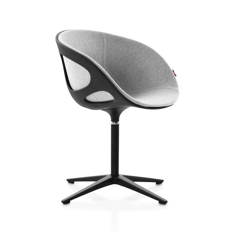 Fritz Hansen Rin Front Upholstered Armchair with Fixed Swivel Base by Hiromichi Konno