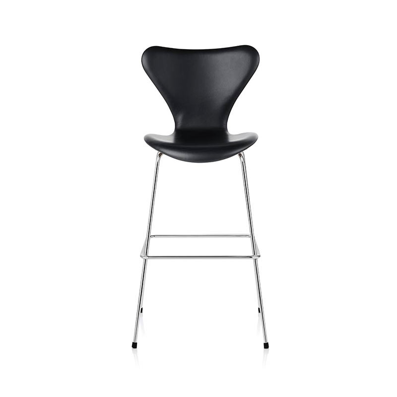 Fritz Hansen Series 7 Fully Upholstered High Bar Stool by Arne Jacobsen