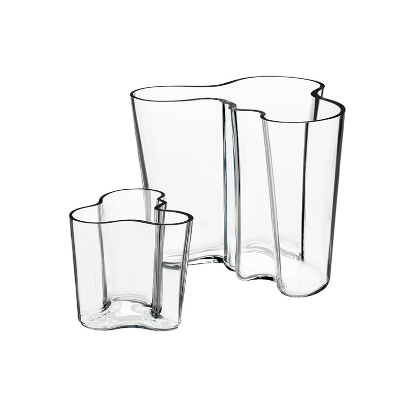 Iittala Aalto Vase Gift Set Clear 95mm & 160mm by Alvar Aalto Olson and Baker - Designer & Contemporary Sofas, Furniture - Olson and Baker showcases original designs from authentic, designer brands. Buy contemporary furniture, lighting, storage, sofas & chairs at Olson + Baker.