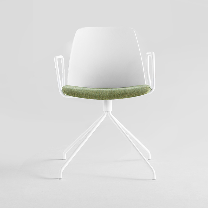 Inclass Unnia Upholstered Armchair with Trestle Swivel Base by Simon Pengelly