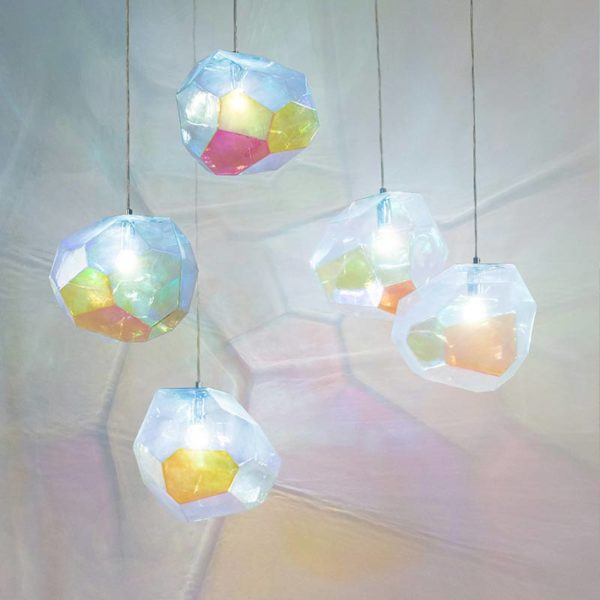 Asteroid Petrol Glass Pendant Light