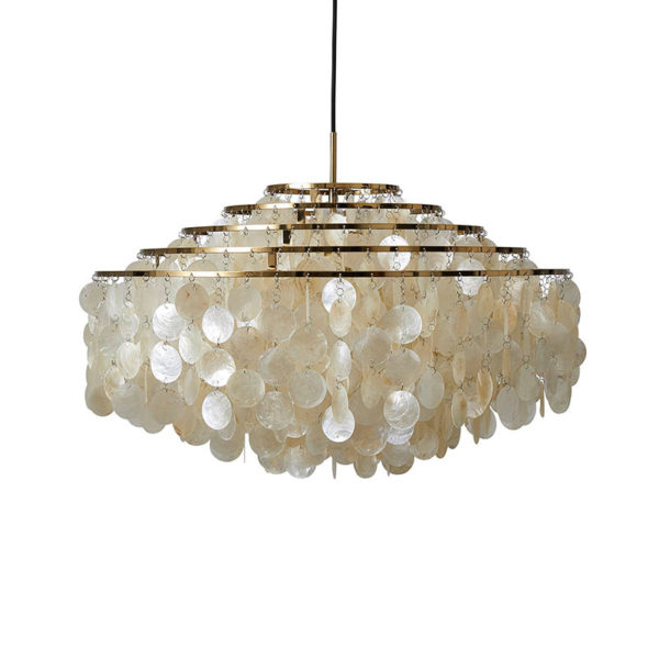 Verpan Fun 11DM Pendant Light in Brass by Verner Panton Olson and Baker - Designer & Contemporary Sofas, Furniture - Olson and Baker showcases original designs from authentic, designer brands. Buy contemporary furniture, lighting, storage, sofas & chairs at Olson + Baker.