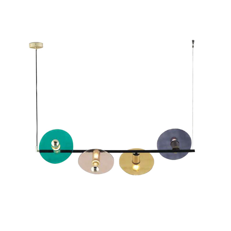 Aromas Ohlala Chandelier with Glass Disc Shades by AC Studio