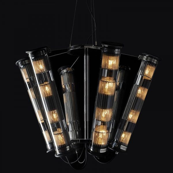 In The Tube Solar 6-700 Chandelier with Gold mesh & Silver Reflector