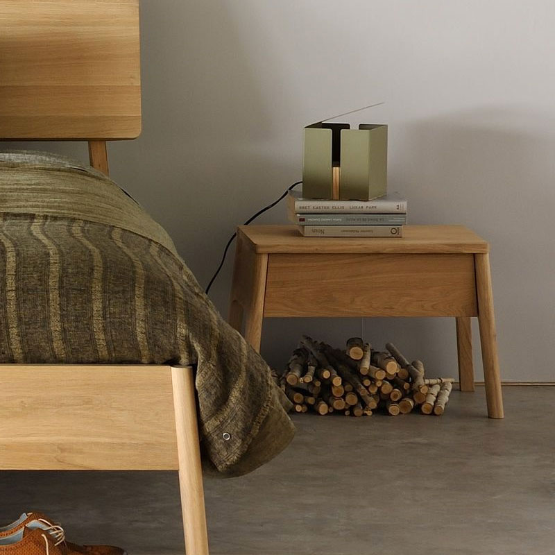 Ethnicraft Air Bedside Table by Alain van HavreLifeshot 01 Olson and Baker - Designer & Contemporary Sofas, Furniture - Olson and Baker showcases original designs from authentic, designer brands. Buy contemporary furniture, lighting, storage, sofas & chairs at Olson + Baker.
