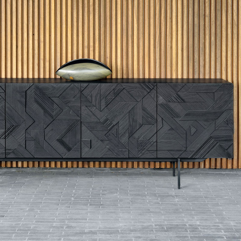 Ethnicraft Graphic Sideboard by Alain van Havre Lifeshot 02 Olson and Baker - Designer & Contemporary Sofas, Furniture - Olson and Baker showcases original designs from authentic, designer brands. Buy contemporary furniture, lighting, storage, sofas & chairs at Olson + Baker.
