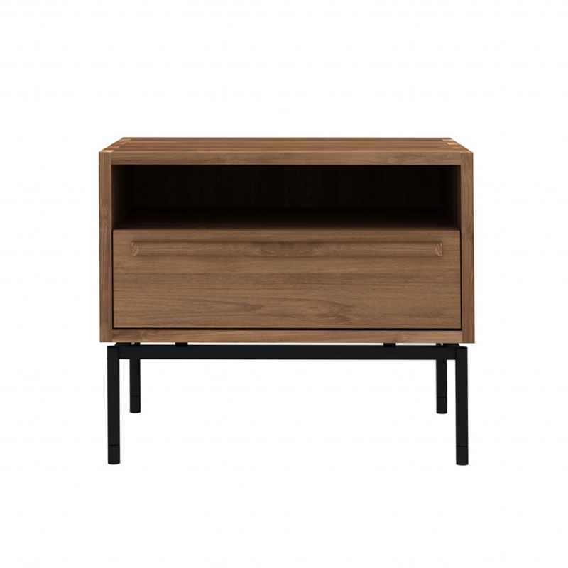Ethnicraft HP Bedside Table in Teak by Alain van Havre Olson and Baker - Designer & Contemporary Sofas, Furniture - Olson and Baker showcases original designs from authentic, designer brands. Buy contemporary furniture, lighting, storage, sofas & chairs at Olson + Baker.