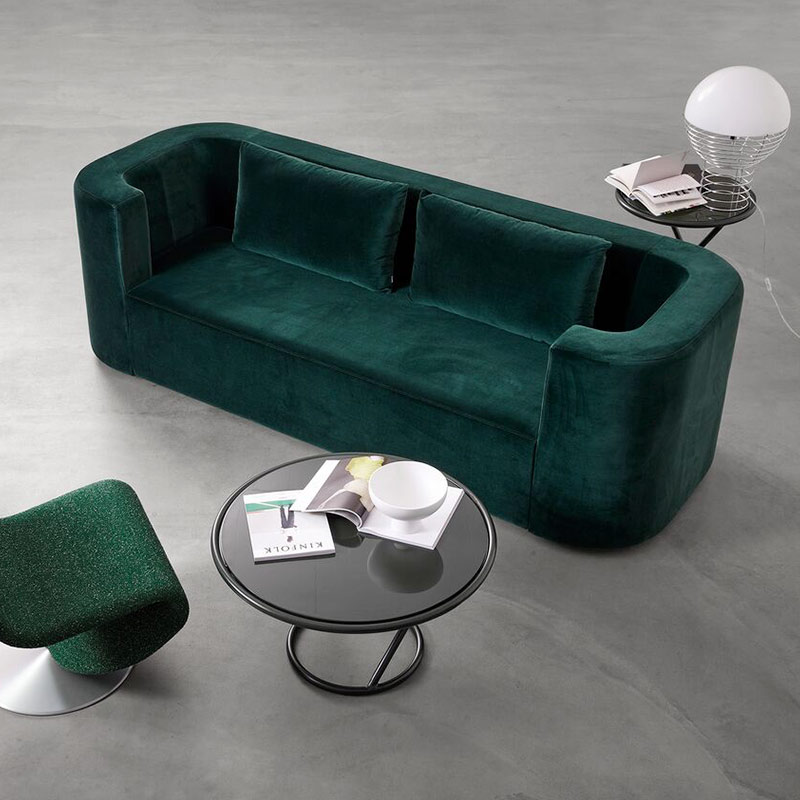 Verpan VP168 Three Seat Sofa by Verner Panton life 1 Olson and Baker - Designer & Contemporary Sofas, Furniture - Olson and Baker showcases original designs from authentic, designer brands. Buy contemporary furniture, lighting, storage, sofas & chairs at Olson + Baker.