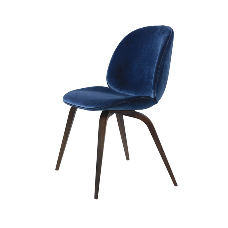 Gubi Beetle Fully Upholstered Dining Chair with Wooden Base by Gam Fratesi Olson and Baker - Designer & Contemporary Sofas, Furniture - Olson and Baker showcases original designs from authentic, designer brands. Buy contemporary furniture, lighting, storage, sofas & chairs at Olson + Baker.