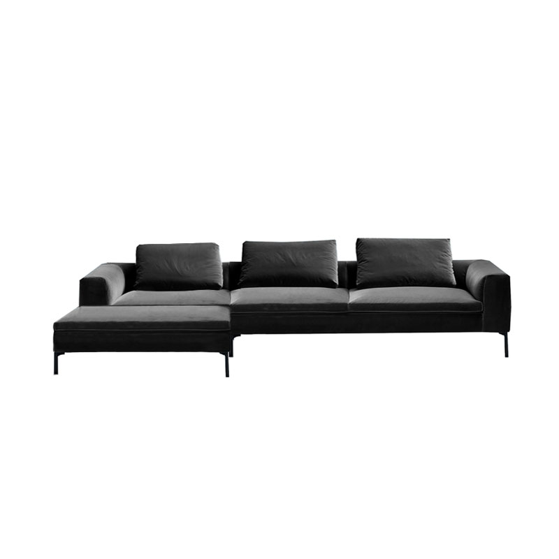 Olson and Baker Cockcroft Left Hand Chaise Sofa in Velvet by Olson and Baker Studio Olson and Baker - Designer & Contemporary Sofas, Furniture - Olson and Baker showcases original designs from authentic, designer brands. Buy contemporary furniture, lighting, storage, sofas & chairs at Olson + Baker.