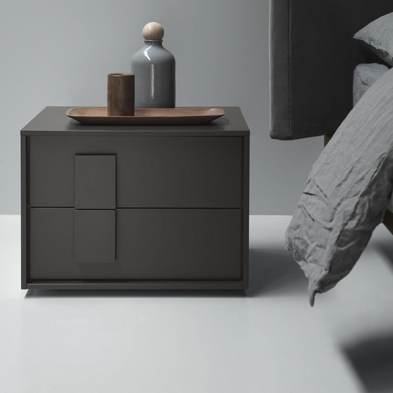 Crick Bedside Table with Two Drawers by Olson and Baker Lifeshot 01 Olson and Baker - Designer & Contemporary Sofas, Furniture - Olson and Baker showcases original designs from authentic, designer brands. Buy contemporary furniture, lighting, storage, sofas & chairs at Olson + Baker.