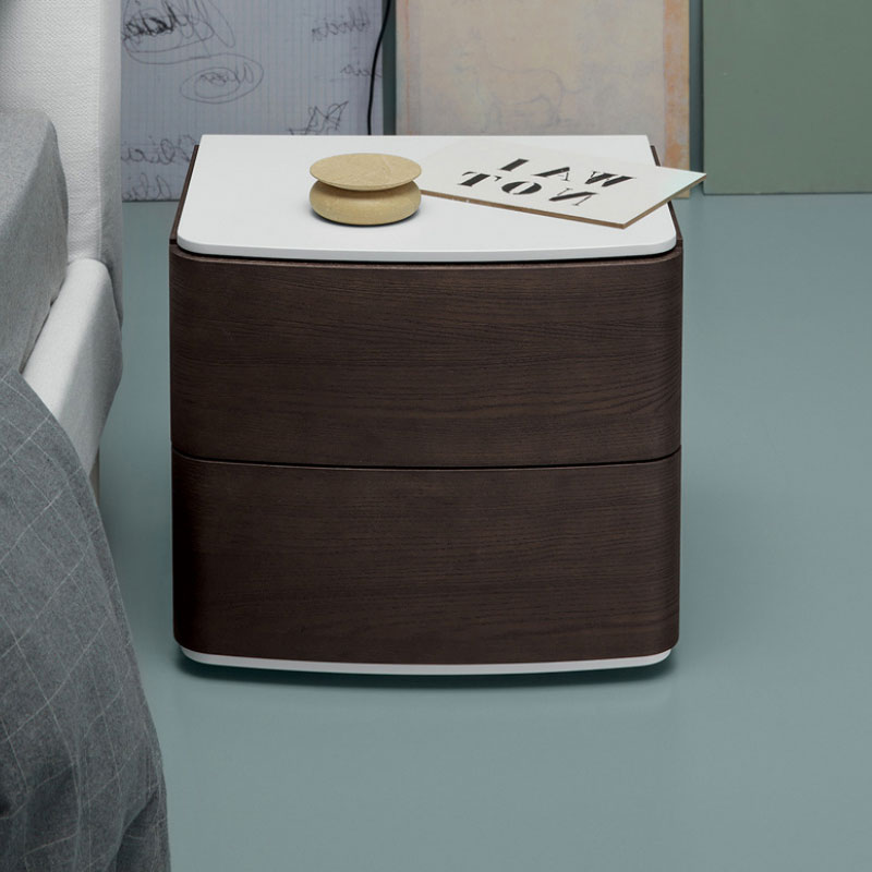 Dalton Bedside Table with Two Drawers by Olson and Baker Lifeshot 01 Olson and Baker - Designer & Contemporary Sofas, Furniture - Olson and Baker showcases original designs from authentic, designer brands. Buy contemporary furniture, lighting, storage, sofas & chairs at Olson + Baker.