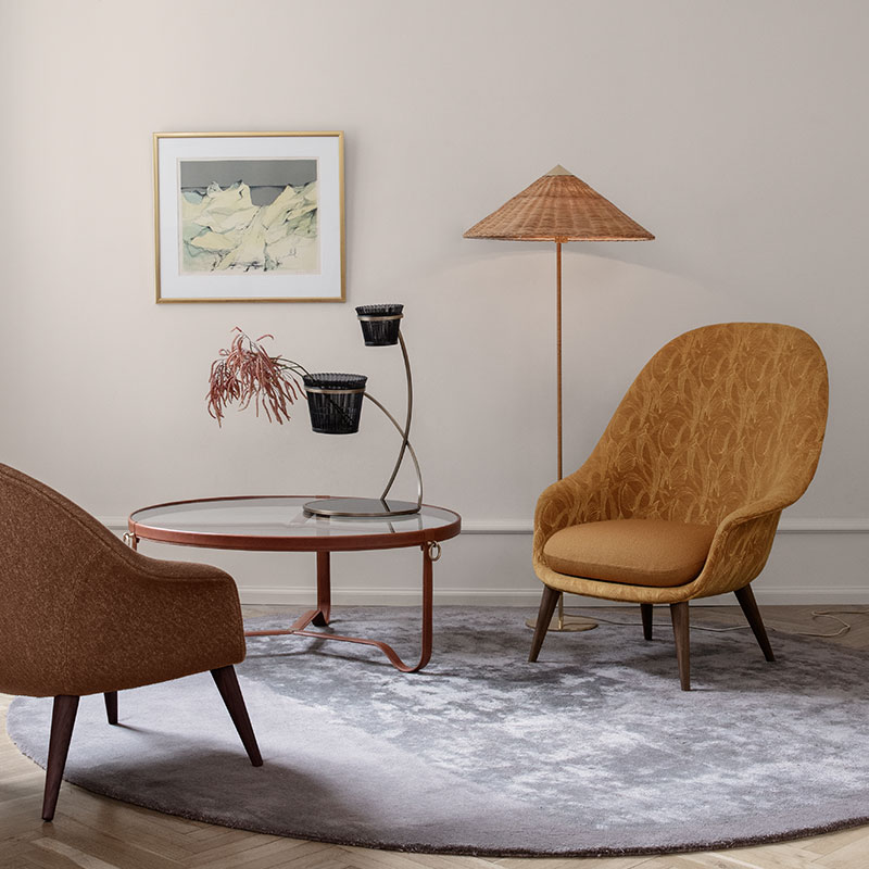Gubi 9602 Floor Lamp by Paavo Tynell Wicker life 1 Olson and Baker - Designer & Contemporary Sofas, Furniture - Olson and Baker showcases original designs from authentic, designer brands. Buy contemporary furniture, lighting, storage, sofas & chairs at Olson + Baker.