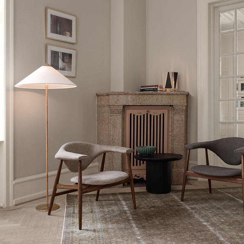 Gubi 9602 Floor Lamp by Paavo Tynell Wicker life 2 Olson and Baker - Designer & Contemporary Sofas, Furniture - Olson and Baker showcases original designs from authentic, designer brands. Buy contemporary furniture, lighting, storage, sofas & chairs at Olson + Baker.