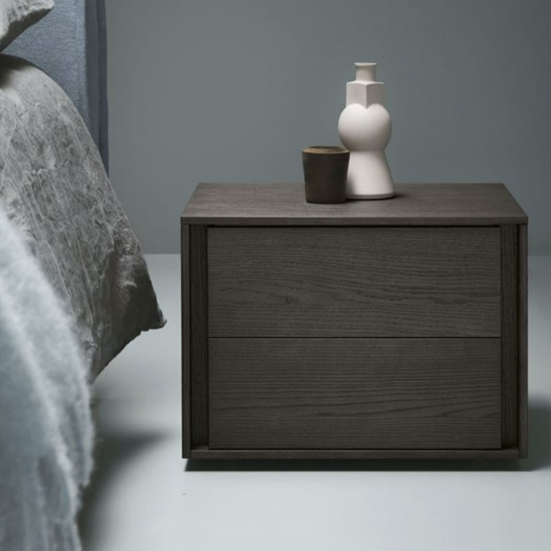 Hodgkin Bedside Table with Two Drawers by Olson and Baker Lifeshot 01 Olson and Baker - Designer & Contemporary Sofas, Furniture - Olson and Baker showcases original designs from authentic, designer brands. Buy contemporary furniture, lighting, storage, sofas & chairs at Olson + Baker.