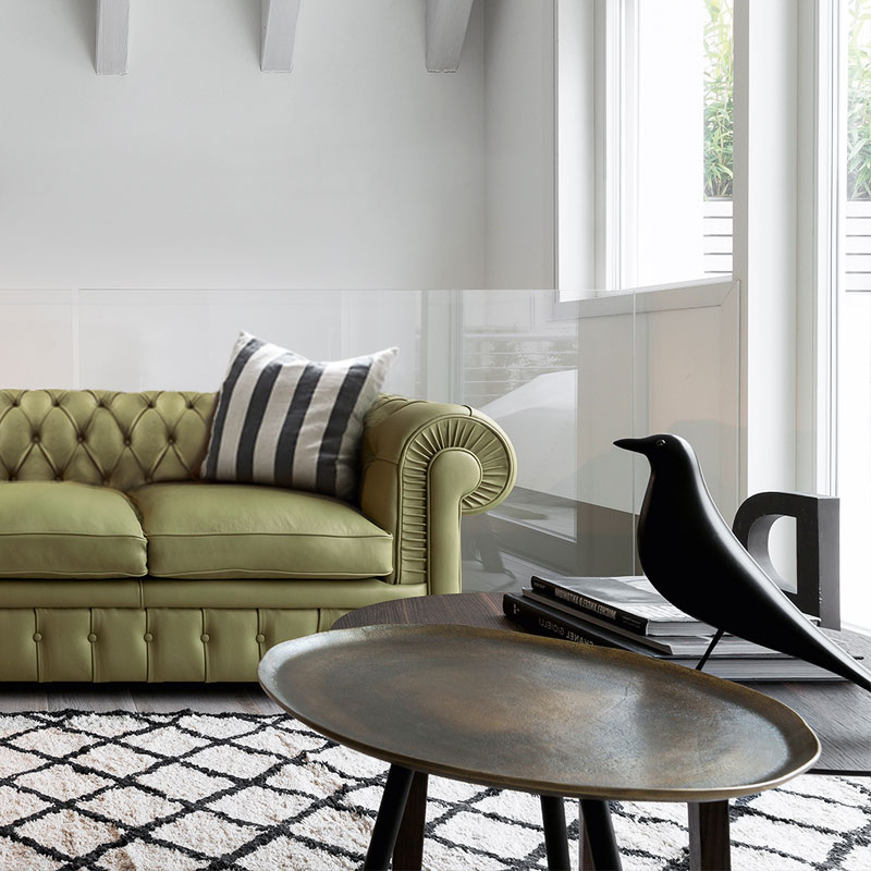 Stanhope Three Seat Chesterfield Sofa by Olson and Baker Lifeshot 01 Olson and Baker - Designer & Contemporary Sofas, Furniture - Olson and Baker showcases original designs from authentic, designer brands. Buy contemporary furniture, lighting, storage, sofas & chairs at Olson + Baker.