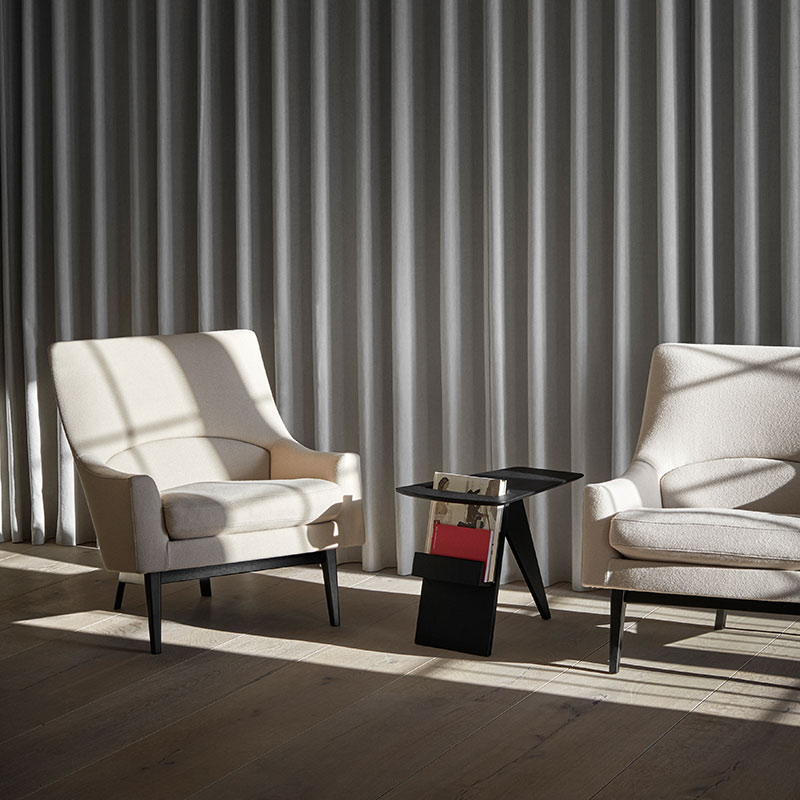 Fredericia A-Chair Lounge Chair Black Lifeshot Olson and Baker - Designer & Contemporary Sofas, Furniture - Olson and Baker showcases original designs from authentic, designer brands. Buy contemporary furniture, lighting, storage, sofas & chairs at Olson + Baker.