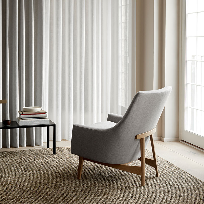 Fredericia A-Chair Lounge Chair Lacquered Oak Lifeshot Olson and Baker - Designer & Contemporary Sofas, Furniture - Olson and Baker showcases original designs from authentic, designer brands. Buy contemporary furniture, lighting, storage, sofas & chairs at Olson + Baker.
