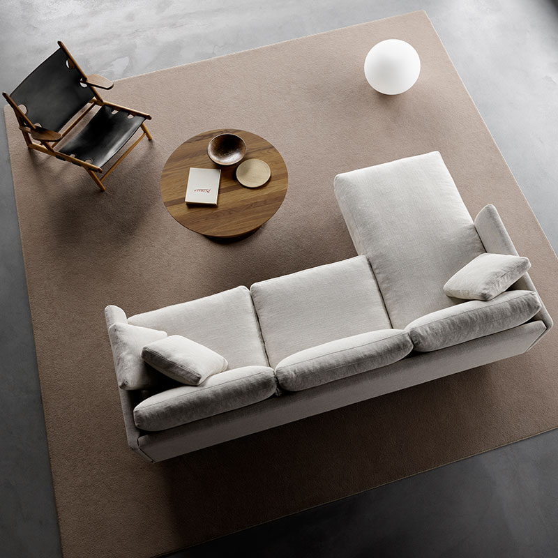 Fredericia Calmo 95 LH Chaise Sofa Lifeshot 01 Olson and Baker - Designer & Contemporary Sofas, Furniture - Olson and Baker showcases original designs from authentic, designer brands. Buy contemporary furniture, lighting, storage, sofas & chairs at Olson + Baker.