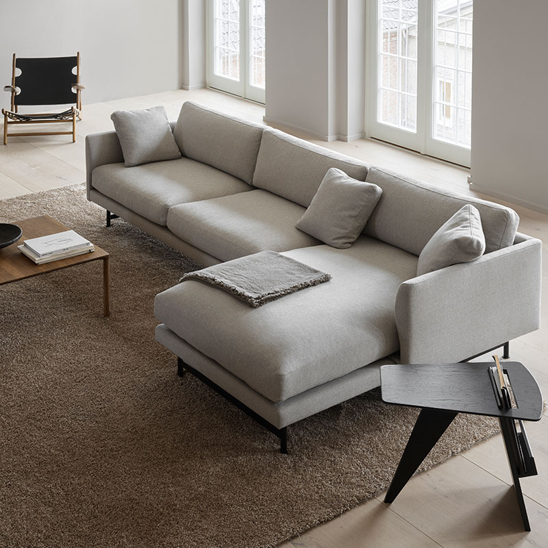 Fredericia Calmo 95 RH Chaise Sofa Lifeshot 01 Olson and Baker - Designer & Contemporary Sofas, Furniture - Olson and Baker showcases original designs from authentic, designer brands. Buy contemporary furniture, lighting, storage, sofas & chairs at Olson + Baker.