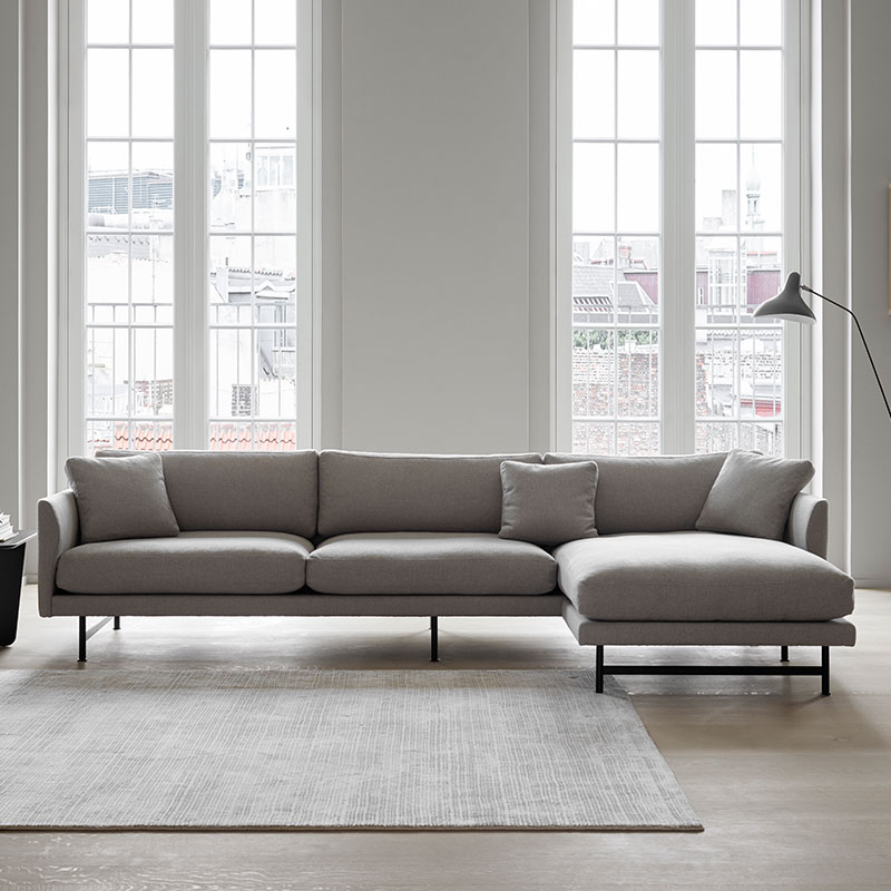 Fredericia Calmo 95 RH Chaise Sofa Lifeshot 02 Olson and Baker - Designer & Contemporary Sofas, Furniture - Olson and Baker showcases original designs from authentic, designer brands. Buy contemporary furniture, lighting, storage, sofas & chairs at Olson + Baker.