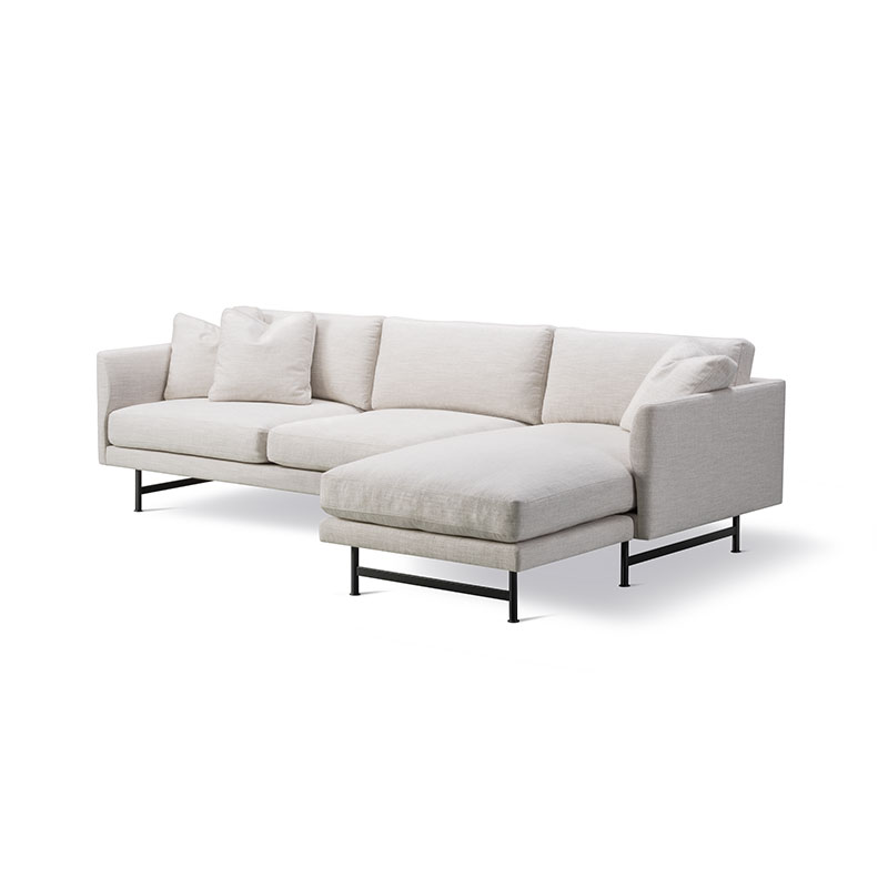 Fredericia Calmo 95 RH Chaise Sofa Sunniva 717 Black 02 Olson and Baker - Designer & Contemporary Sofas, Furniture - Olson and Baker showcases original designs from authentic, designer brands. Buy contemporary furniture, lighting, storage, sofas & chairs at Olson + Baker.