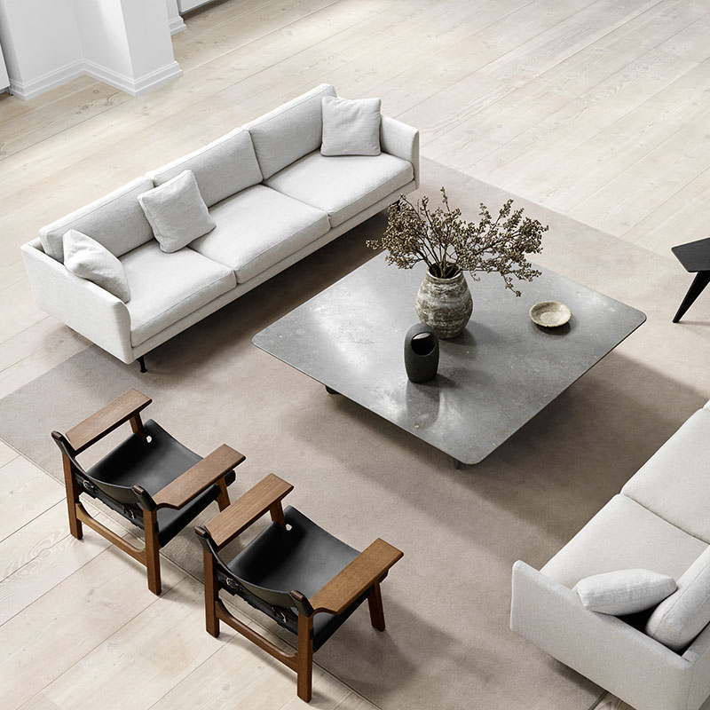 Fredericia Calmo 95 Three Seat Sofa Lifeshot 02 Olson and Baker - Designer & Contemporary Sofas, Furniture - Olson and Baker showcases original designs from authentic, designer brands. Buy contemporary furniture, lighting, storage, sofas & chairs at Olson + Baker.