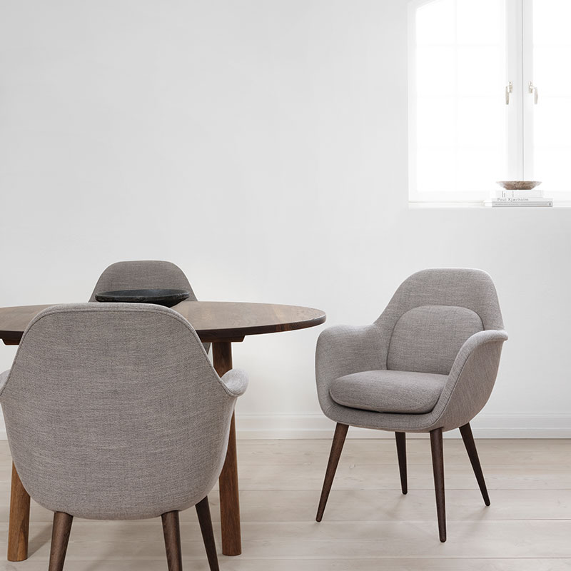 Fredericia Swoon Dining Chair Lifeshot 01 Olson and Baker - Designer & Contemporary Sofas, Furniture - Olson and Baker showcases original designs from authentic, designer brands. Buy contemporary furniture, lighting, storage, sofas & chairs at Olson + Baker.