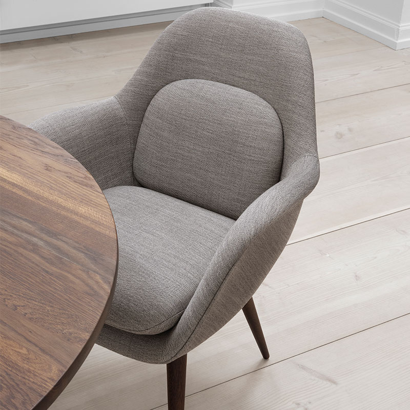 Fredericia Swoon Dining Chair Lifeshot 02 Olson and Baker - Designer & Contemporary Sofas, Furniture - Olson and Baker showcases original designs from authentic, designer brands. Buy contemporary furniture, lighting, storage, sofas & chairs at Olson + Baker.