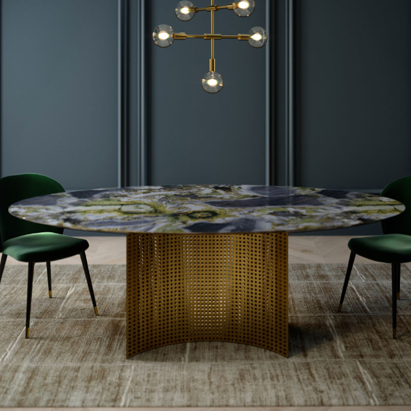 Alex Mint Lunette 220cm Oval Dining Table by Alexia Mintsouli Olson and Baker - Designer & Contemporary Sofas, Furniture - Olson and Baker showcases original designs from authentic, designer brands. Buy contemporary furniture, lighting, storage, sofas & chairs at Olson + Baker.