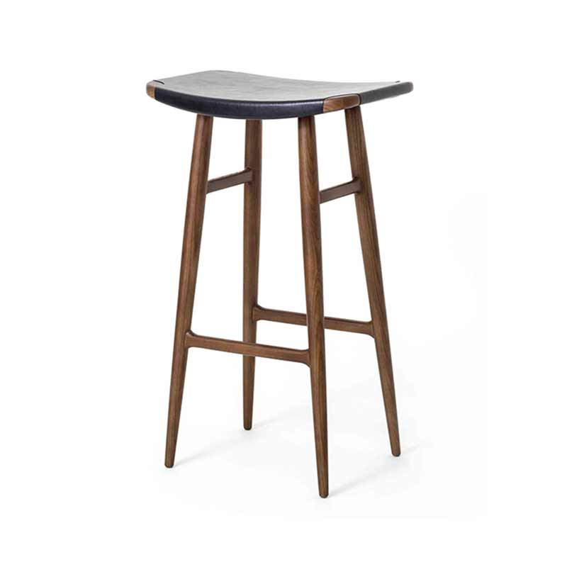 Stellar Works Freja Leather Seat Bar Stool by Space Copenhagen