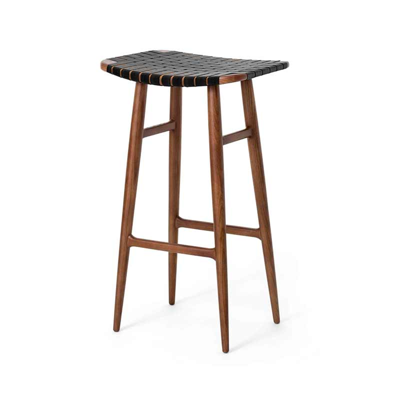 Stellar Works Freja Leather Stripe Seat Bar Stool by Space Copenhagen