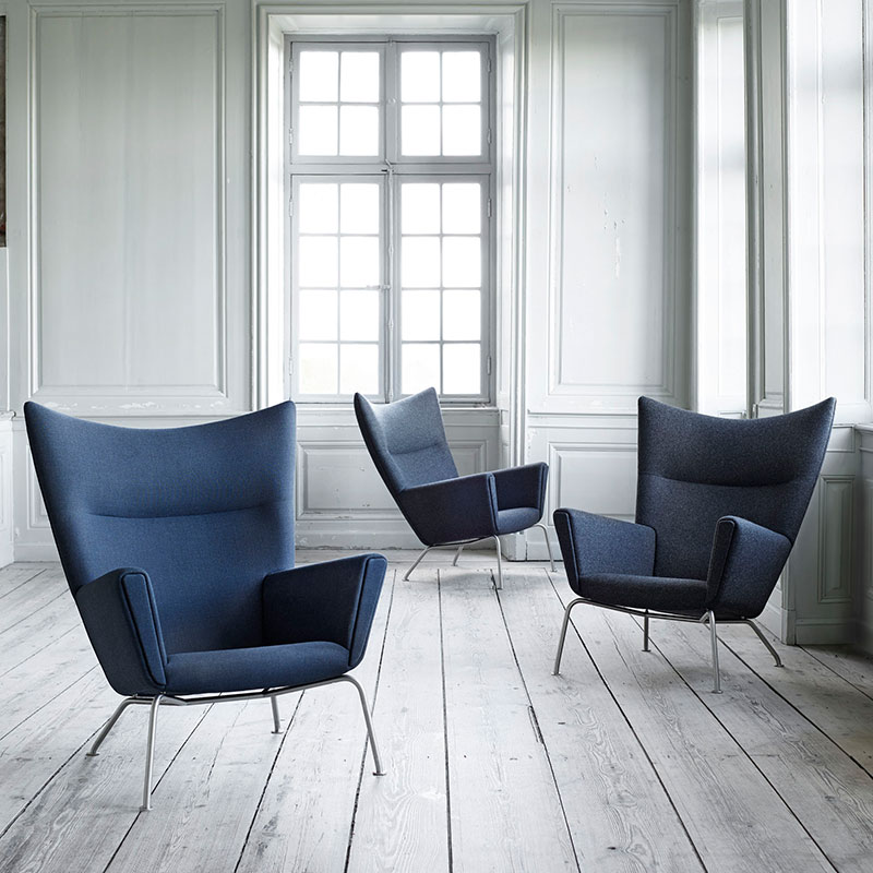 Carl Hansen CH445 Wing Lounge Chair by Hans Wegner Canvas 2 746 life Olson and Baker - Designer & Contemporary Sofas, Furniture - Olson and Baker showcases original designs from authentic, designer brands. Buy contemporary furniture, lighting, storage, sofas & chairs at Olson + Baker.