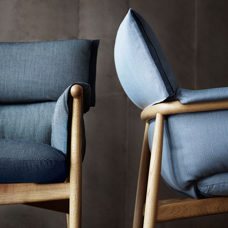 Carl Hansen E015 Embrace Lounge Chair life 1 Olson and Baker - Designer & Contemporary Sofas, Furniture - Olson and Baker showcases original designs from authentic, designer brands. Buy contemporary furniture, lighting, storage, sofas & chairs at Olson + Baker.