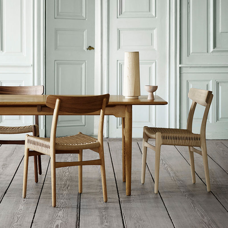 Carl Hansen CH327 Dining Table by Hans Wegner in Oiled Oak life 1 Olson and Baker - Designer & Contemporary Sofas, Furniture - Olson and Baker showcases original designs from authentic, designer brands. Buy contemporary furniture, lighting, storage, sofas & chairs at Olson + Baker.
