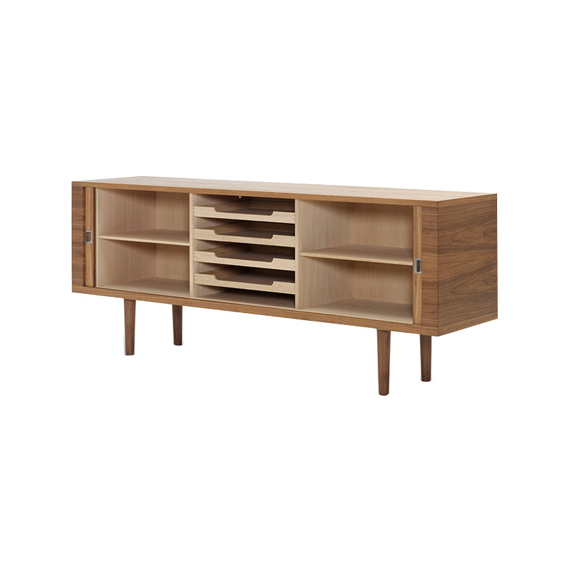 Carl Hansen CH825 Credenza by Hans Wegner Oil Walnut 3 Olson and Baker - Designer & Contemporary Sofas, Furniture - Olson and Baker showcases original designs from authentic, designer brands. Buy contemporary furniture, lighting, storage, sofas & chairs at Olson + Baker.