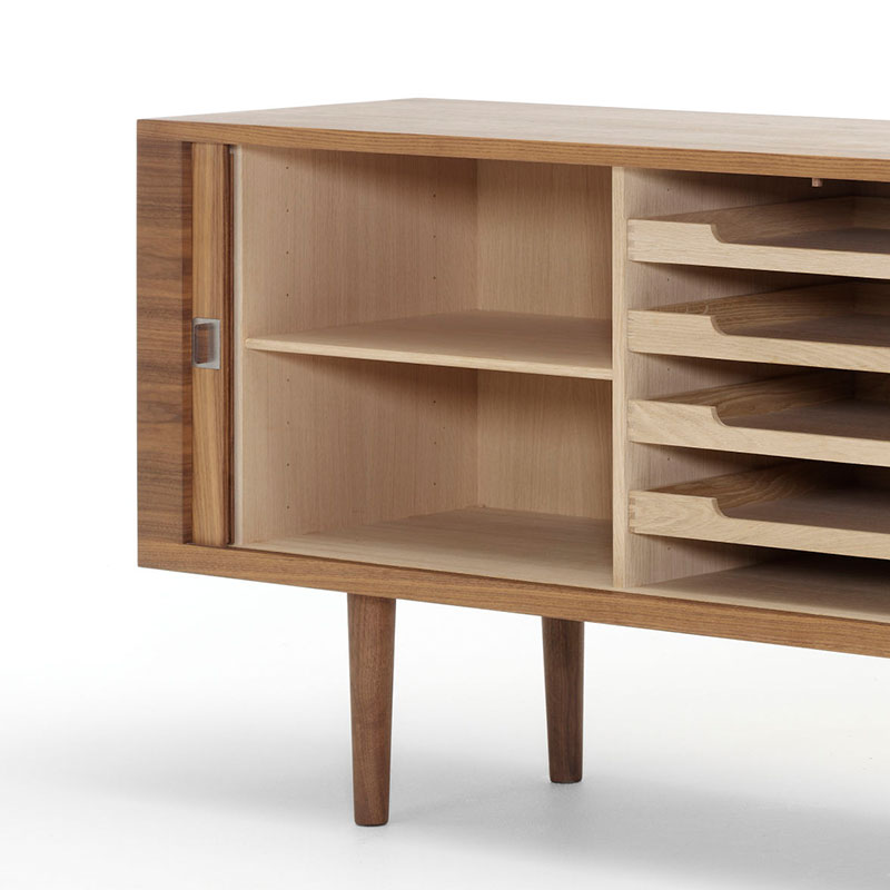 Carl Hansen CH825 Credenza by Hans Wegner Oil Walnut 4 Olson and Baker - Designer & Contemporary Sofas, Furniture - Olson and Baker showcases original designs from authentic, designer brands. Buy contemporary furniture, lighting, storage, sofas & chairs at Olson + Baker.