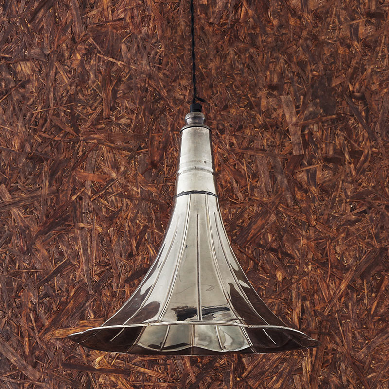 Mullan_Lighting_Gramophone_Pendant_by_Mullan_Lighting_Antique_Silver Olson and Baker - Designer & Contemporary Sofas, Furniture - Olson and Baker showcases original designs from authentic, designer brands. Buy contemporary furniture, lighting, storage, sofas & chairs at Olson + Baker.