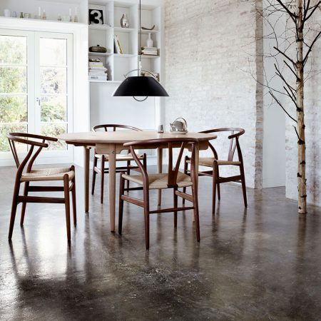 Carl-Hansen-CH337-Round-Dining-Table-by-Hans-Wegner-in-White-Oil-Oak-3 Olson and Baker - Designer & Contemporary Sofas, Furniture - Olson and Baker showcases original designs from authentic, designer brands. Buy contemporary furniture, lighting, storage, sofas & chairs at Olson + Baker.